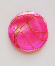 Drawbench flat beads. Pink. 19mm x 2mm. x 5